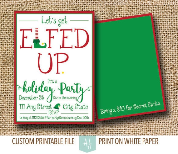 Funny Holiday Party Invite Set For Elf Themed