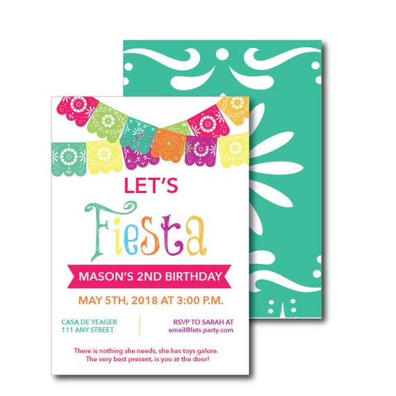 fiesta themed party invitation printable file let s fiesta