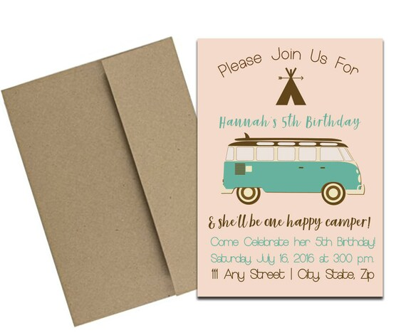 camping themed party invitation with envelopes printed birthday
