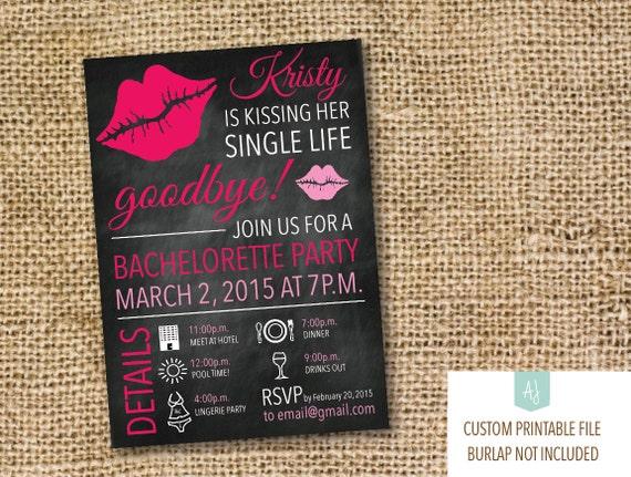 Kissing Her Single Life Goodbye Bachelorette Party Invitation Hen