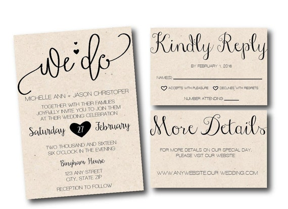 Wedding Invite Suite With Cursive Fonts Or Invitation Template Etsy