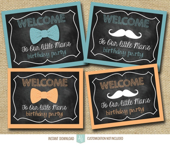 picture about Printable Birthday Signs named Mustache and Bow Tie Get together Symptoms- Printable Birthday Indicators