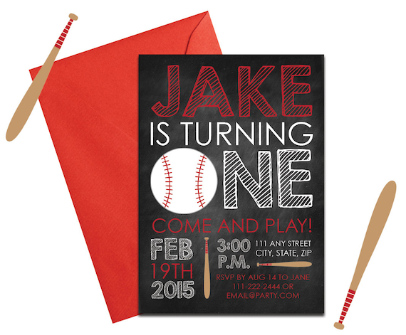 baseball party invitation with envelopes printed birthday etsy