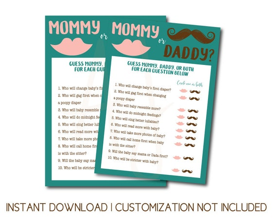 Mommy Or Daddy Baby Shower Game Printable File Customization Not