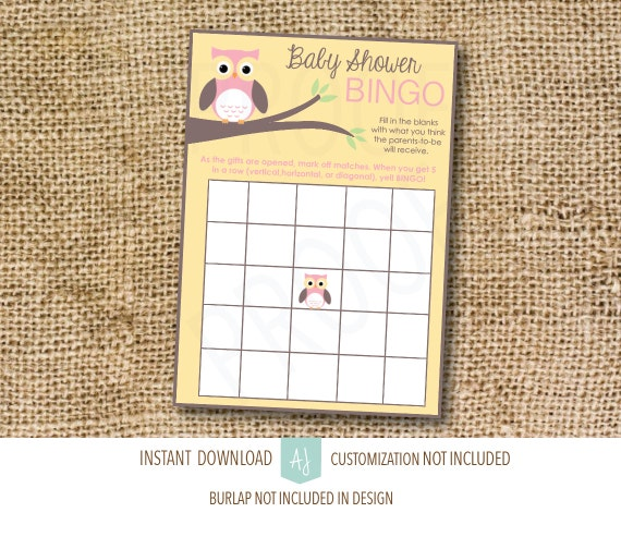 Owl Themed Baby Shower Game BINGO Customization NOT Included Pink