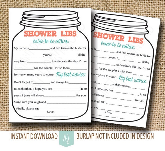 bridal shower game mason jar theme shower game mad libs for etsy