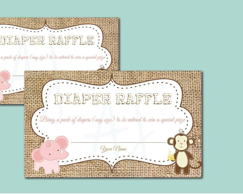 Diaper Raffle Cards for the New Baby or Gift Idea for New Mom