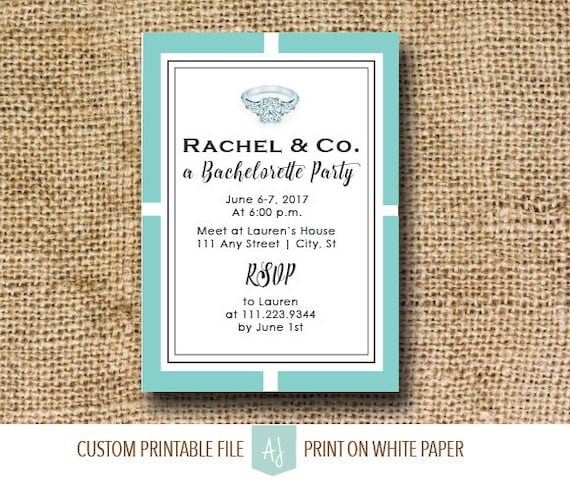 tiffany s themed bachelorette invitation blue and white etsy