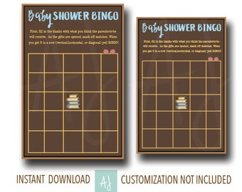 Book Themed Baby Shower Game- Baby BINGO!--Customization NOT Included- Instant Download