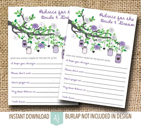 Advice Cards For The Bride And Groom Bridal Shower Game In Etsy