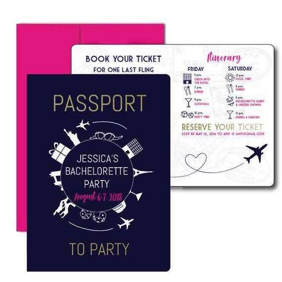 passport to party bachelorette invite travel themed invite