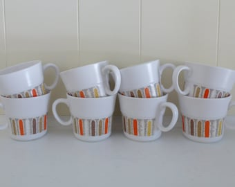 Set of 8 Noritake Progression China Mugs Vintage Mardi Gras Mugs