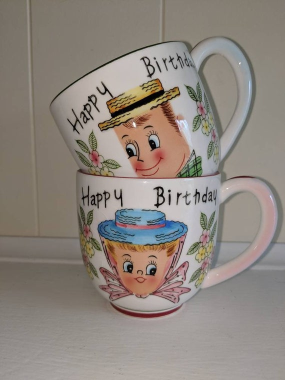 Py Japan Happy Birthday Cups Man And Woman Mugs Rare