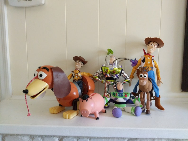 7f020f5f57f Set Of 7 Collectible Toy Story Figures Woody Toy Bullseys Toy Buzz  Lightyear Andy Signed Coin Shooting Pig Vintage Disney Plastic Bullseye