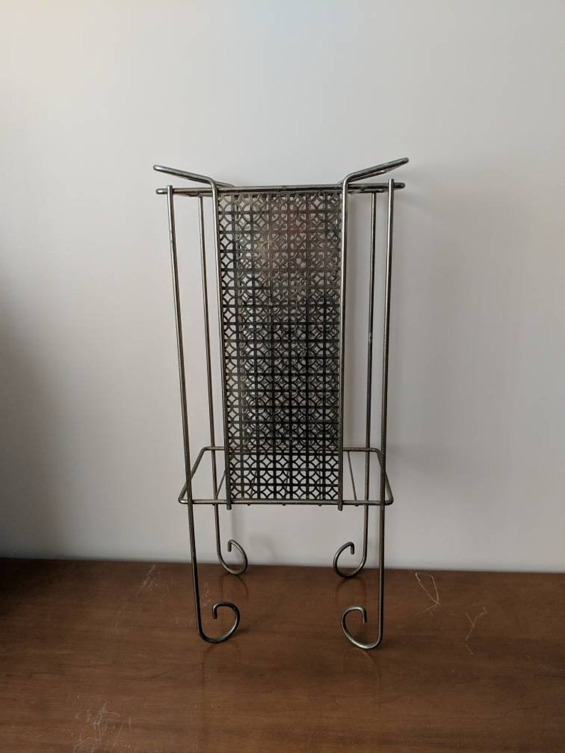 Atomic Table Mid-century Modern Stand Metal Stand Telephone A Magazine Rack Record Stand Side Table Eames Era Wire Storage Shelf Plant Stand