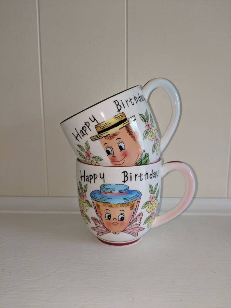 Py Japan Happy Birthday Cups Man And Woman Mugs Rare