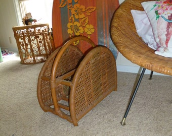 Vintage Wicker Magazine Rack Basket Boho Decor Rattan Basket Boho Home Vintage Bamboo Wicker Magazine Rack