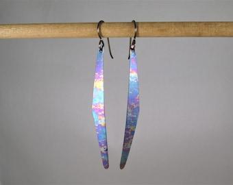 Multi-colored Long Slender Geometric Curved Titanium Earrings