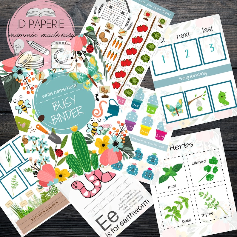 G A R D E N Busy Binder printable Toddler Busy Binder