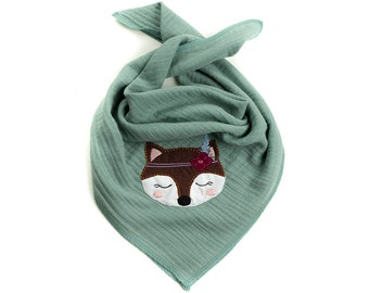 Neck scarf for kids - triangle scarf muslin cloth - fox embroidery boho - color choice