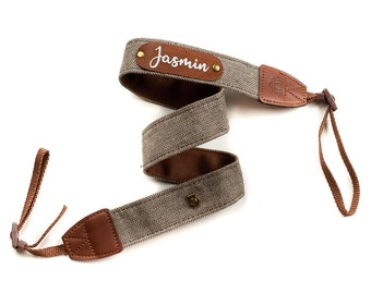 Personalized camera strap - camera strap with name - beige/brown herringbone leather label embroidery