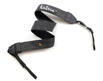 Personalized camera strap - camera strap with name - black/grey herringbone leather label embroidery