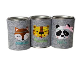 Piggy bank Piggy bank Panda Tiger Fox felt desired motif Name