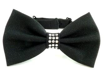 b9740baa7b52 Womens Black Bow Tie with Swarovski Crystals, Crystals, Wool Bow Tie,  Womens Bowtie, Wool Bowtie, Women Bow Tie