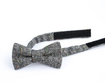 d771cb1a3345 Black and White Wool Bow Tie for Children,Kids Bow Ties, Ties For Boys,Toddler  Bow Tie, Beige with Herringbone,Bowtie,Wool
