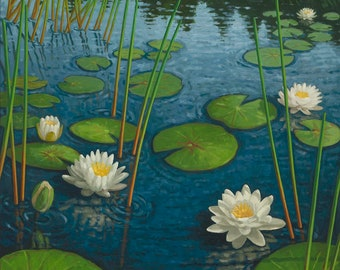 """Lilies in Morning Light- Original Oil Painting- 36"""" h x 24"""" w by Paul Hannon, FREE SHIPPING Canada"""