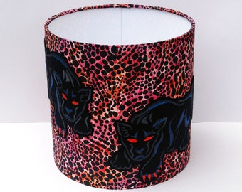 Embroidered Panther & Animal Print Lampshade