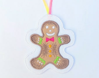 Handmade Embroidered Gingerbread Man - Hanging Christmas Decoration