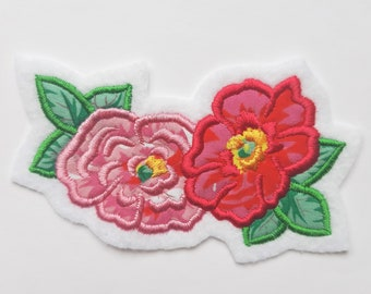 Handmade Embroidered Flowers - Sew On Badge/Patch - For Clothing & Accessories