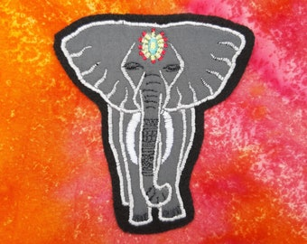 Handmade Embroidered Elephant - Sew On Badge/Patch - For Clothing & Accessories