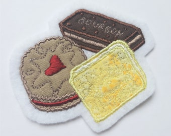 Handmade Embroidered Biscuits - Sew On Badge/Patch - For Clothing & Accessories