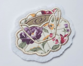 Handmade Embroidered Teacup and Saucer - Sew On Badge/Patch - For Clothing & Accessories