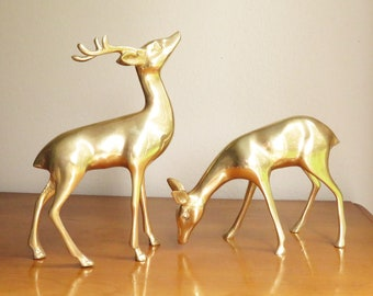 Vintage Brass Deer Figurines, Brass Figurines, Brass Doe and Buck, Deer Family, Woodland Brass Animal, Reindeer Statues, Pair, Couple