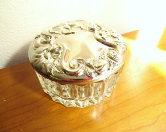 Vintage Trinket Dish, Ornate Floral Silver Treasure Dish, Silver Plated Glass Dish