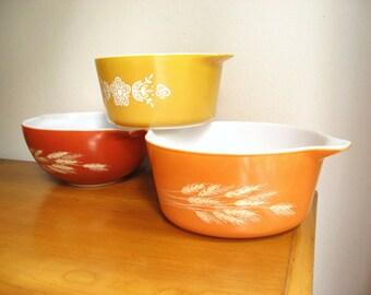 Vintage Pyrex Casserole Dishes, Autumn Color Collection, Flower, Wheat Design