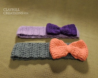 Two-Tone  Bow Headband - Crochet Bow Headband - Two Color Headband - Crochet Ear Warmer - Winter Accessory - Gifts for Her - Gifts Under 20