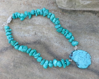 Chunky, turquoise nugget necklace with turquoise pendant.