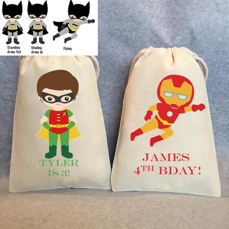 Superhero favors Superman Superhero Birthday Superheroes Robin Superhero Party Favor Bags 36- Superhero party Batman Party 5x7