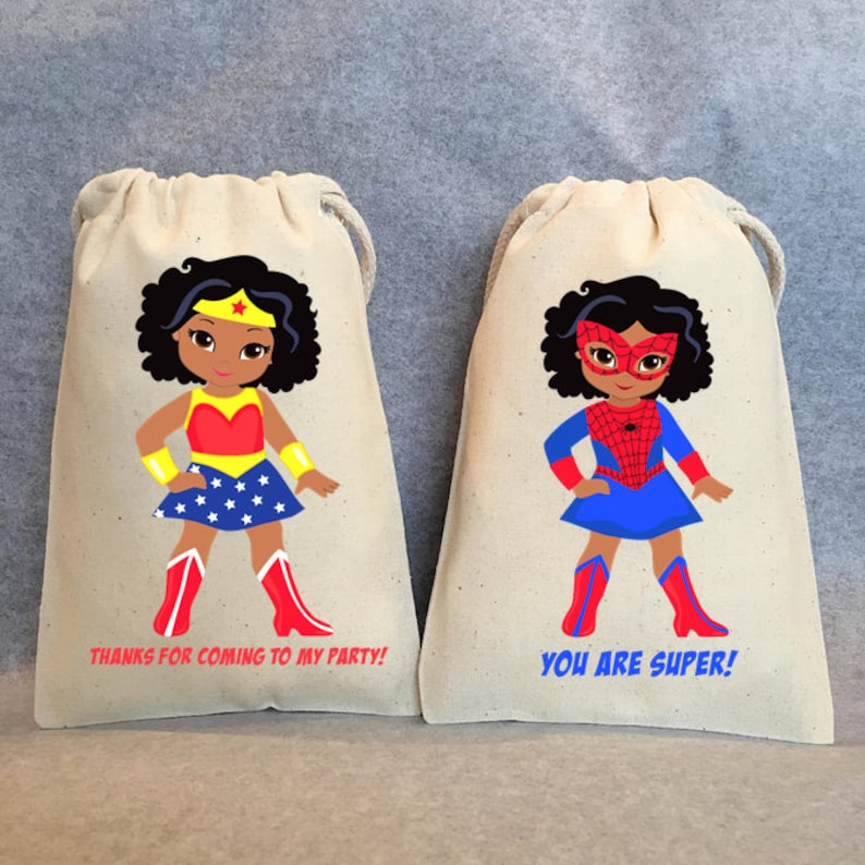 set of 25 bags 5x7 African American Supergirl Party Supplies African American Girl Birthday Party Favor Bags Superhero Party