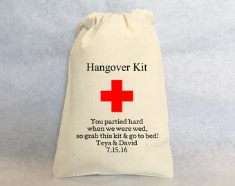 """Hangover Kit, set of 25, Personalized wedding favors- wedding favor bags, Cotton Drawstring Bags - wedding favors 5""""x8"""""""
