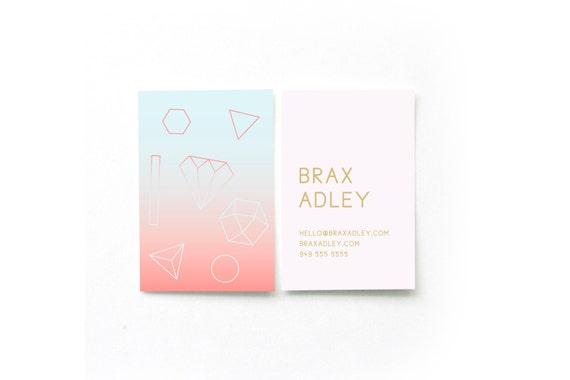 Sunset Geometry Business Cards Diy Business Cards Etsy