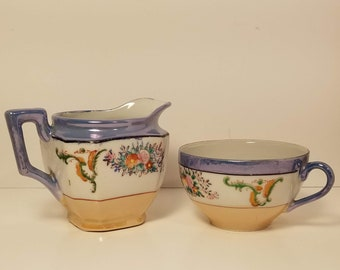 and small bowl 2 pieces Vintage Lusterware SEE DESCRIPTION with band of flowers around each small creamer pitcher