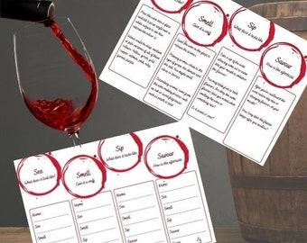 Printable Wine Tasting Notes