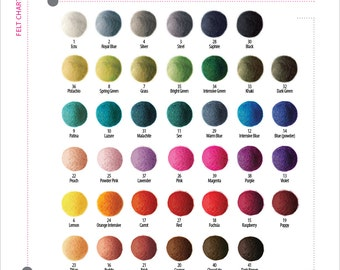 100 pieces x 1,5cm FELT BALLS beads 1,5cm 15mm (0,6 inch)