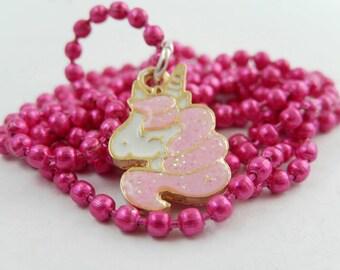 Kawaii Glitter Unicorn necklace. Fairy Kei. Fantasy. Magical.