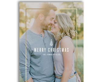 Modern Christmas Photo Card Template - Modern Holiday Year In Review Newsletter Card Template - Photoshop Required - MODERN MERRY - 1589